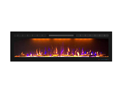 Mystflame 60 inch Fireplace Recessed, Insert and Wall Mounted Slimline Electric Fireplace with 750/1500 Watt Heater, Log & Crystal Hearth, Adjustable Realistic Flame and Remote Control & Touch Screen