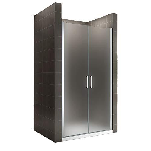 i-flair Duschtür 95x185 cm Verstellbereich von 95-98 cm, Höhe: 185 cm, Duschabtrennung aus 6 mm satiniertem ESG Sicherheitsglas mit Nanobeschichtung und Edelstahlgriffen – NF