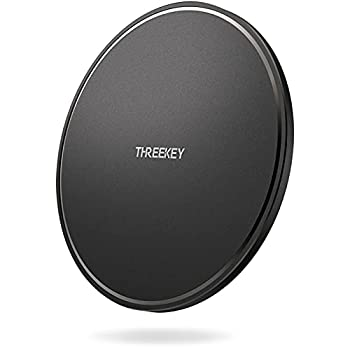 THREEKEY Wireless Charger 10W Qi-Certified Wireless Charging Pad Compatible for iPhone 12 Pro Max/SE/11 Pro Max/X/XS Max/8 Plus Samsung Galaxy S21/S20/Note10/S10 AirPods Pro Black  No AC Adapter