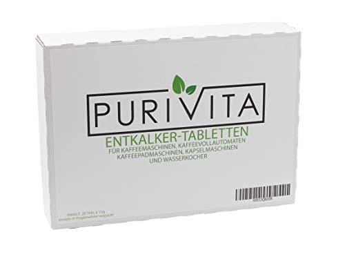 Purivita - Pastillas descalcificadoras para cafeteras y cafeteras automáticas (20 unidades)