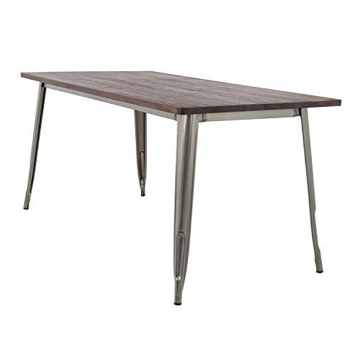 SKLUM Table LIX Brossée en Bois (160x80) Acier Bois Foncé - (Plus de Couleurs)