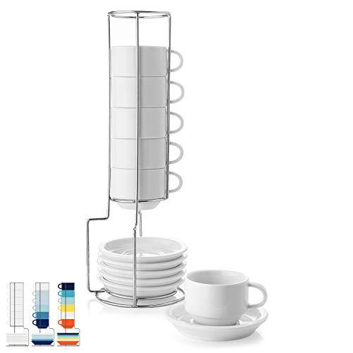 Sweese 405.001 6-teilig Stapelbare Espressotassen Set aus Porzellan, Kaffeetassen mit Untertasse und Metall Ständer, 120 ml