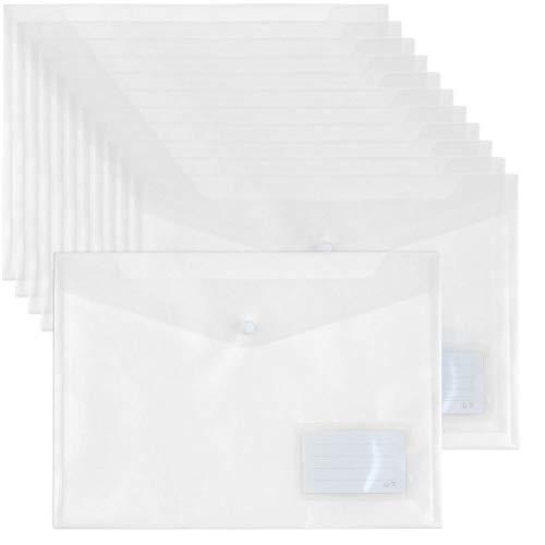 YOTINO A4-20 piezas de bolsillos para documentos A4 Carpeta con bolsillo para tarjetas de visita Bolsillos transparentes para bolsillo de documentos -blanco