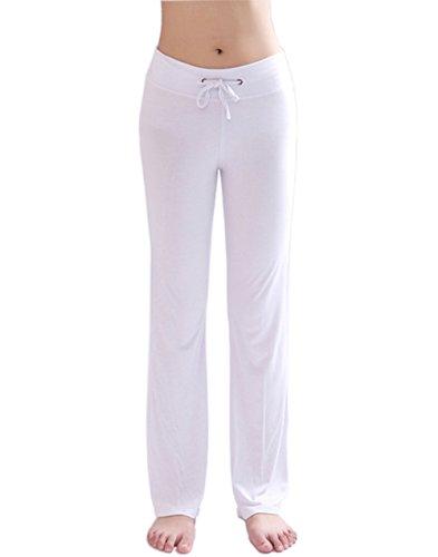 Hoerev - Pantalones de yoga para mujer, Mujer, color Blanco