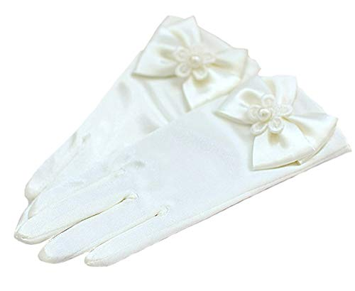 Ivory Girls Gorgeous Satin Fancy Glove special Occasion Dress Formal Wedding Pageant Party Short