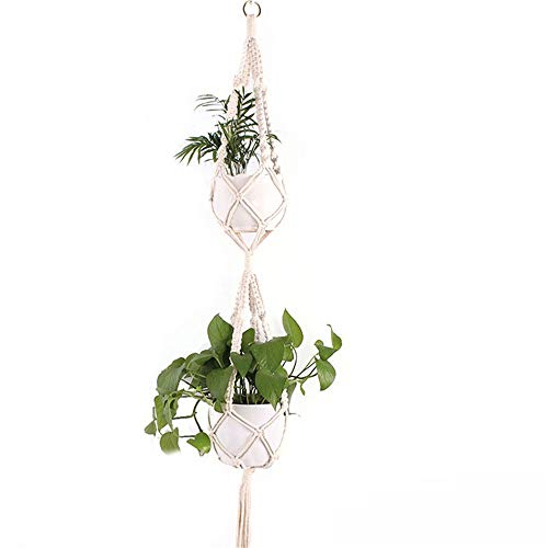 Nvshiyk Balcony Decoration Delicate Macrame Plant Hangers Indoor Wall Hanging Planter Basket Flower Pot Holder Home Decor for Indoor or Outdoor (Color : Natural, Size : A)