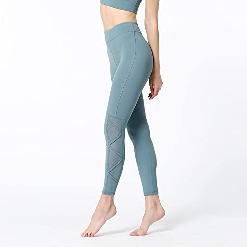 CYMTZ Leggings Deportivos para Mujer Pantalones De Yoga Elásticos Mallas De Malla Patchwork Vendaje Gimnasio Leggings De Secado Rápido Running Fitness Medias L Sb-Z015 Verde