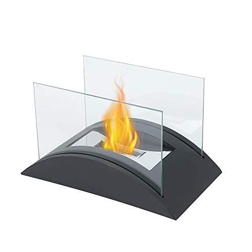 JHY DESIGN Rechteckiger Tisch Feuerschale 35cm Bioethanol Tischkamin Topf Bio Ethanol Kamin Glas Tragbarer Tischfeuer für Deko Tisch Patio Party Innen Garten Wohnzimmer Balkon Outdoor Indoor Innen…