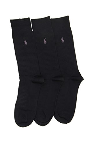 Ralph Lauren Herren Socken Kleid Mikrofaser Rippe, 3Paar Gr. One size, schwarz
