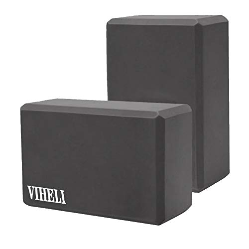 VIHELI Yoga Block (2 Pack) High Density EVA Foam Yoga Brick Blocks for Yoga/Pilates/Meditation, Non-Slip Surface for Improve Stretching and Aid Balance and Flexibility (Black)
