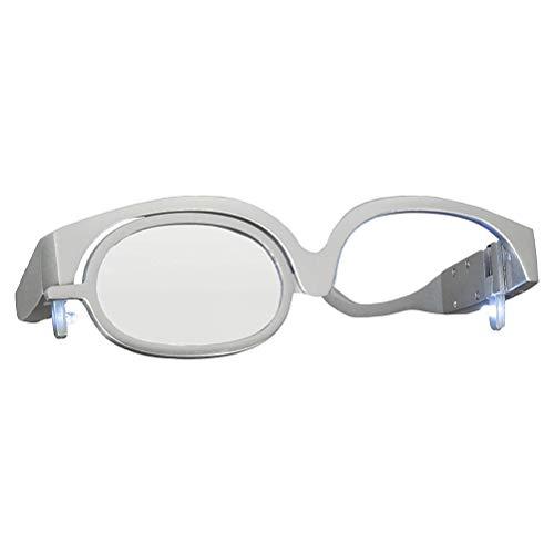 OUTEYE Gafas de Maquillaje para Mujer, Herramienta Esencial de Maquillaje, Resistente a los arañazos, giratoria con lámpara, Espejo cosmético, Gafas giratorias de una Sola Lente