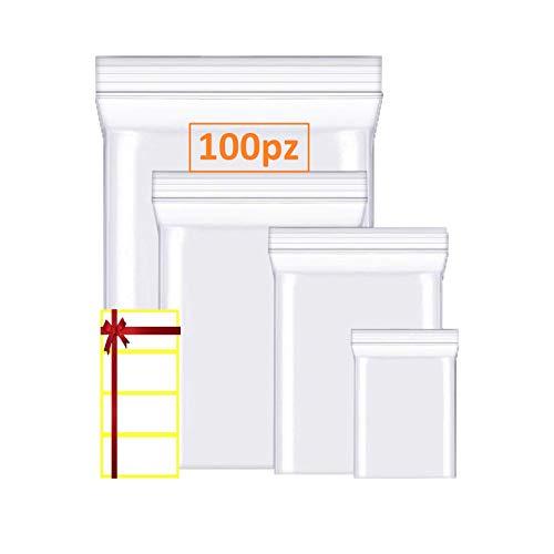 100 Sacchetti plastica Trasparenti con Etichette spessi e durevole per Immagazzinaggio e Conservazione, chiusura a ZIP Riutilizzabile, Risigillabili, Chiusura con Cerniera a pressione taglia (6X8)