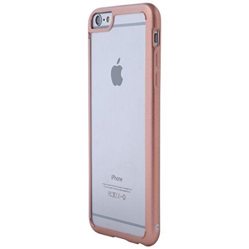 Ultratec Funda protectora híbrida para smartphone / carcasa con borde de TPU de color para iPhone 6 Plus y 6s Plus, con funda con cremallera, transparente/oro rosa