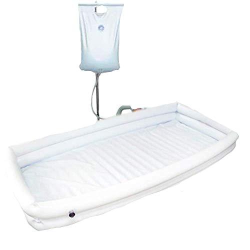 Sistema De Ducha Médica Para Adultos Con Bañera Inflable Almohada + Inflador + Bolsa De Agua Por Aspersión Para Discapacitados, Ancianos, Paciente Encamado Fácilmente Del Baño En La Cama