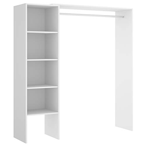 HABITMOBEL Vestidor para Dormitorio o Recibidor en Blanco, Barra de Colgar, Alto: 187 cm x Fondo: 40 cm x Ancho Adaptable de 110 a 140 cm