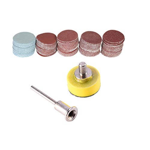 DOITOOL 100 Stück 25mm Schleifscheiben-Pad mit Schaft-Stützteller 100-3000er Körnung robust für Bohrerschleifer-Rotationswerkzeuge