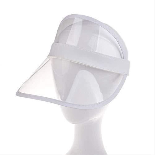 Sombrero para el Sol de Verano para Mujer Unisex Color Caramelo Transparente Superior vacío Plástico PVC Sombrilla Sombrero Visor Gorras Bicicleta SombreroBlanco