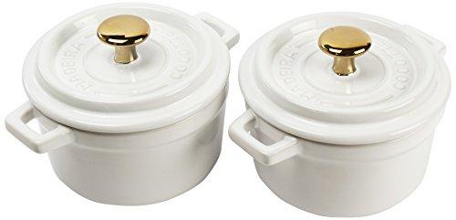 Madeira by Architec Mini Cocotte Lidded Baking Dishes, Set of 2, White Ceramic.5 Quart Each