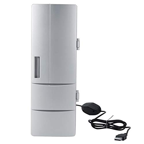 ZLININ Refrigerador de coche Mini USB Refrigerador Congelador Latas Beber Cerveza Refrigerador Refrigerador Viaje Icebox Coche Oficina Uso Portátil