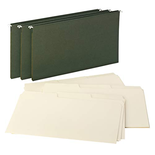 Smead Reveal Hanging Folders with SuperTab Folders Kit, 1/2' Expansion, 1/3-cut Oversized Tabs, Legal Size, 15 Green / 45 Manila, Per Box (92017)