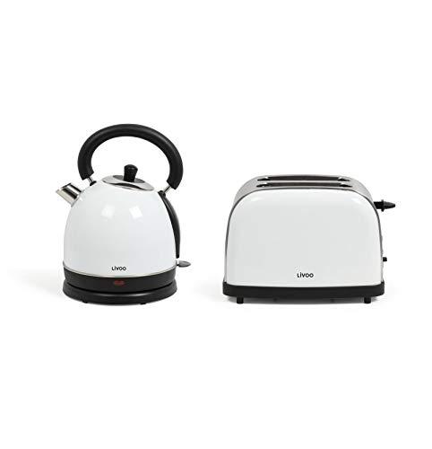 Set de desayuno tostadora de agua vintage – hervidor de agua retro eléctrico blanco 1,8 litros 1800 W – 2 rebanadas tostadoras de acero inoxidable 900 W termostato 5 niveles
