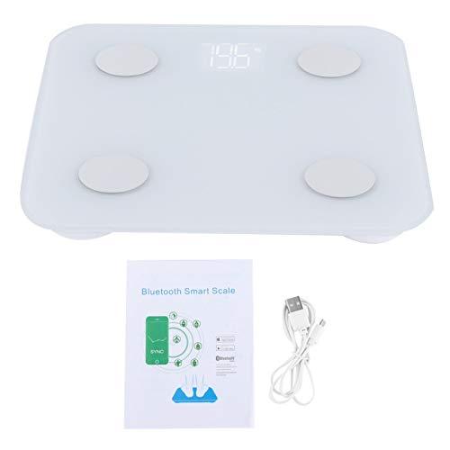 Uxsiya 0.2KG-180KG Báscula de baño Básculas para peso corporal, carga USB, pantalla LED, escala electrónica para grasa corporal, escala digital