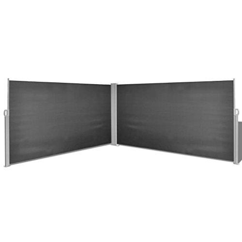 Festnight Ausziehbare Seitenmarkise 160x600 cm Schwarz Markise Sichtschutz Sonnenschutz für Balkon Terrasse