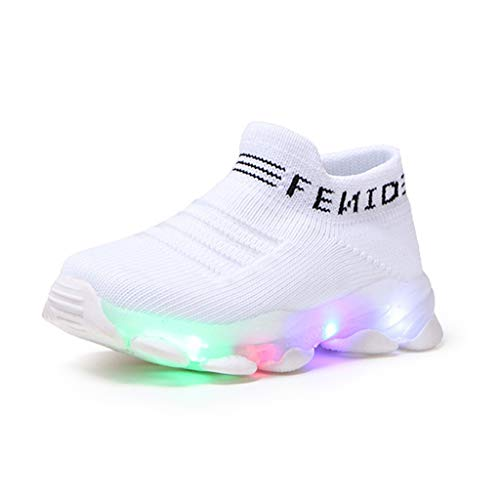 Toddler Boys Girls Led Shoes Tennis Shoes for 1-6 Years Old Children Candy Color Light up Sport Sneakers Shoes (15-18 Months, Pink)
