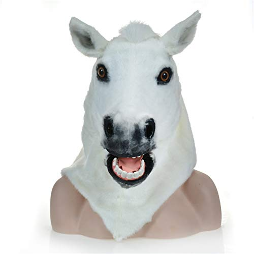 ROYAL STAR TY Animal Cosplay Sombrero Peluche Blanco Caballo móvil Boca Animal Cabeza mandíbula manchada de Animal Cabeza Divertido Cosplay Halloween y de Pascua Traje Novela Regalo