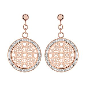 1001 Bijoux oorbellen, staafje staal en PVD, roze, rond, motief rozetten, contouren, hars en witte strass-steentjes