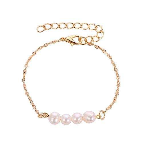 efsdhg Pulsera de mujer simple clásica de cobre de color dorado, pulsera de cadena ajustable, pulsera de perlas de agua dulce para mujeres (Color de metal: 4)