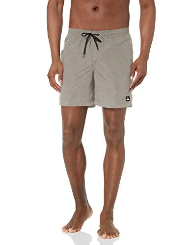Quiksilver Men's Standard Solid Elastic Waist Volley Boardshort Swim Trunk Bathing Suit, Sleet Heather, M