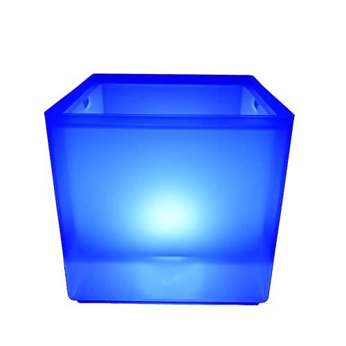 Heqianqian Cubo de hielo LED cubo de hielo 3.5L LED refrigerador cubo colorido cambiante doble capa cuadrado bandeja de hielo para barbacoas fiestas bares clubes