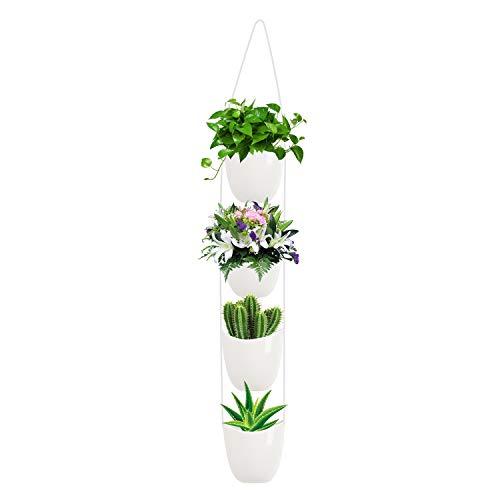 Ulikey Keramik Blumentopf Hängend Wand Vase, Hängeampeln, Muse Wandvasen Keramik, Blumentopf Hängend, Blumenampel Deko Weiße Moderne Wand Deko für Sukkulenten/Kaktus (Weiß)
