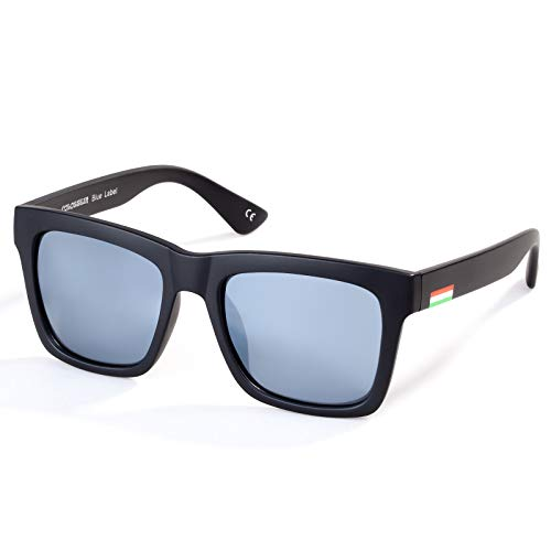 Colossein Classic Polarized Sunglasses For Men Retro Square Frame Mirrored Lens, UV400(Silver Lens/Black Frame)