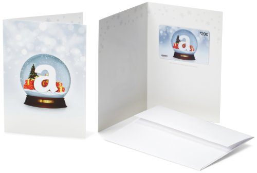 Amazon.com $200 Gift Card in a Greeting Card (Holiday Globe Design)