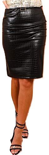 Momo&Ayat Fashions dames PU krokodil Midi rok met gesp riem UK maat 8-14