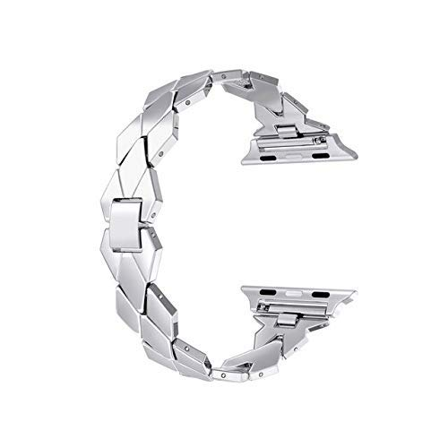 Correa de acero inoxidable para reloj Apple de 4 m, 42 mm, 38 m, 40 mm, correa de pulsera para reloj de pulsera de eslabones para iwatch 5, 4, 3, 2, 1, hebilla de metal (color: plata, tamaño: 38 mm)
