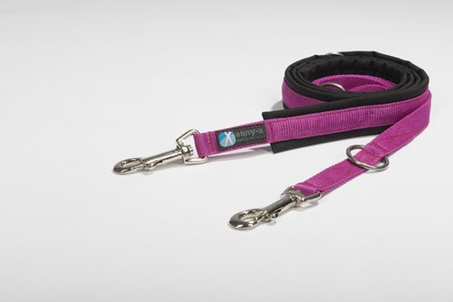 anny-x gepolsterte Führleine 2,0 cm schwarz pink - grosser Karabiner