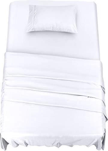 Utopia Bedding - Set Lenzuola Letto - Spazzolata Microfibra - Lenzuola e 1 Federa - per la Letto 90 x 190 cm (Bianco, Singolo)