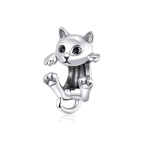 GaLon Abalorios Colgantes de Plata de Ley 925, Colgante de Gato juguetón Hecho a Mano para Mujer, Compatible con Pandora Troll Chamilia Charm Pulsera y Collares