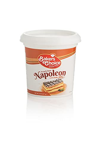 French Vanilla Pudding Mix - French Napoleon Custard Powder - Make Custard Creams For French Napoleon Cake, Custard Cups, Mousse Cake, and Desserts - Dairy Free, Kosher - 8 oz. - By Baker's Choice