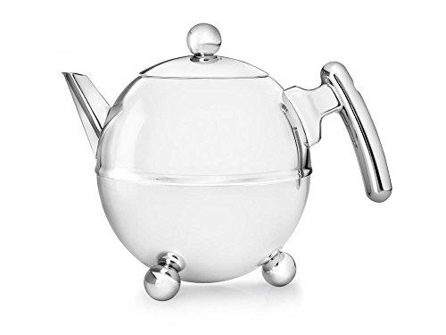 doppelwandige Teekanne Duet® Bella Ronde Edelstahl glänzend verchromte Beschläge 1,5 ltr.