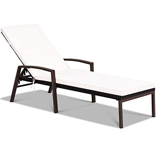 COSTWAY Sonnenliege Rattan, Gartenliege Polyrattan 5 verstellbare Rückenlehne mit Kissen und Armlehne, Rattanliege Strandliege für Garten, Rasen und Terrasse