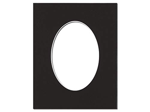 PA Framing, Photo Mat Board, 8 x 10 inches Frame for 5 x 7 inches Photo Art Size, Oval - Cream Core/Black