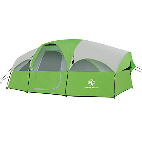 HIKERGARDEN Tent-8-Person-Camping-Tents, Waterproof Windproof Family Tent, 5 Large Mesh Windows, Double Layer, Divided Curtain for Separated Room, Portable with Carry Bag, for All Seasons (Green)