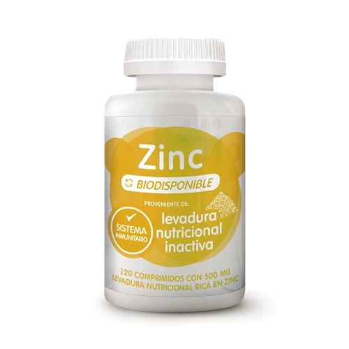 Energy Feelings Comprimidos Biodisponibles de Zinc de Levadura Nutricional | Funcionamiento normal del Sistema Inmunológico, mejora la Testosterona y Función Cognitiva | 120 comprimidos de 500mg