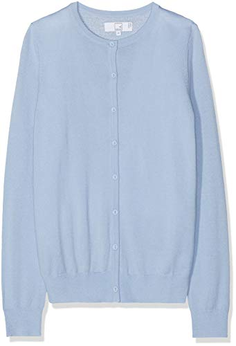 Amazon-Marke: MERAKI Merino Strickjacke Damen mit Rundhals, Blau (Light Blue), 34, Label: XS
