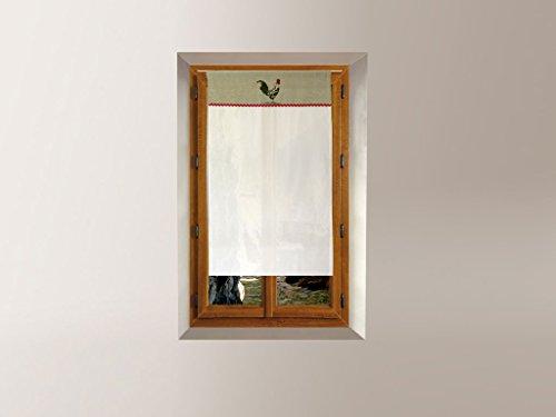 Soleil d'ocre 043691 Tendina a vetro ricamata in cotone 60 x 90 cm COQ