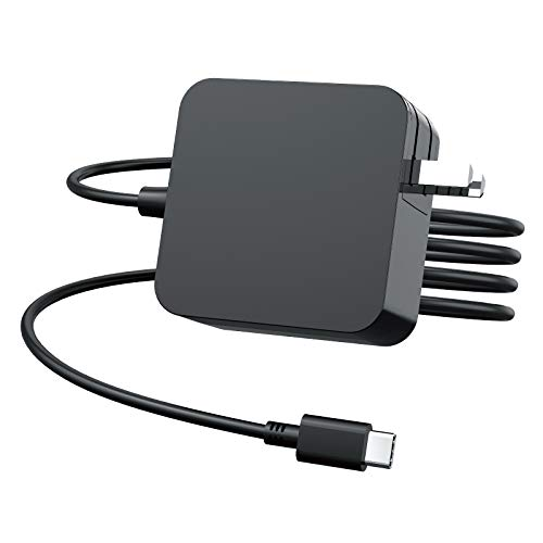 65W USB-C Laptop Charger for Dell XPS 12 9250, 13 9380 9370 9365 9360 9350 Latitude 5175 5285 5290 5480 7370 7280 7480 7275 7490 7390 2-in-1 Chromebook 3100 3400 Precision 3540 3550 AC Power Adapter